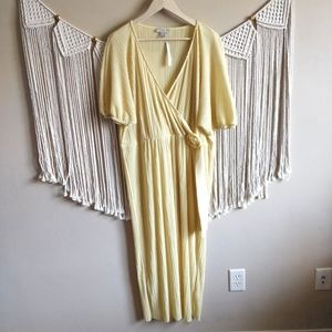 ASOS Light Yellow Pleated Faux Wrap Maxi Dress 14